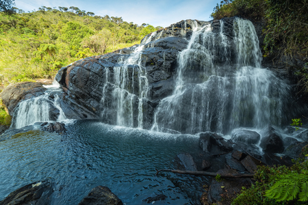 The Bakers Falls in the Horton Plains gets its water from the Belihul Oya. Sri Lanka. Ceylon, Asia,