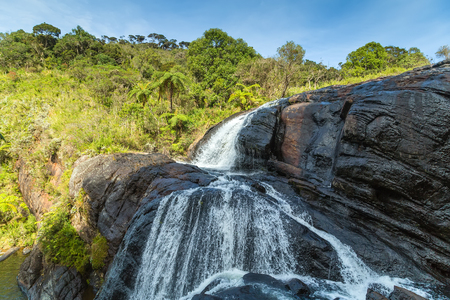 Baker's Fall Waterfall mountain landscape Horton Plains National Park Sri Lanka. Ceylon, Asia