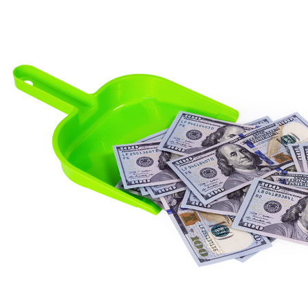 Sweeps cash money banknote in the shovel on the white background, concept garbage