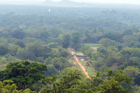 Sigiriya Rock or Sinhagiri aerial panoramic view, which dominates the jungle from all sides, Dambulla in Sri Lanka.