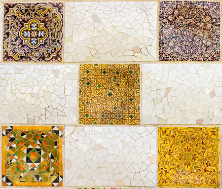 texture ceramic tiles wall decoration tile-shard mosaic, Barcelona, Spain. 写真素材