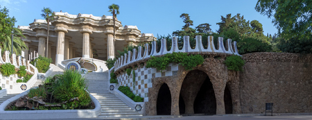 Stairway with sculpture Salamanders, Park Guell designed by Antoni Gaudi in Barcelona, Spain.