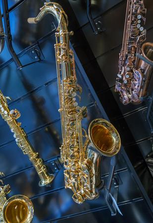 American jazz saxophone background.