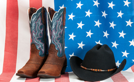 american flag hat and boots cowboy western vintage.