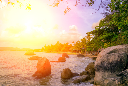 Summer beach Colorful Sky Sunset or Sunrise background. 写真素材