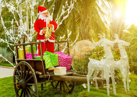 Sunrise over Santa Claus rides in a reindeer, Christmas Santa sleigh tropical locations with palm trees caribbean Stock Photo