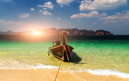 Sun boat in a tropical beach on Koh Phi Phi Island, Thailand, Asia Stock Photo