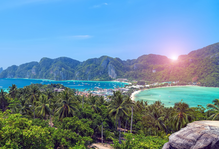 Panorama Bay andaman sea Phuket, sun tropical trip Krabi, South of Thailand.