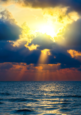 Sunrise tropical sky cloud over sea paradise background.