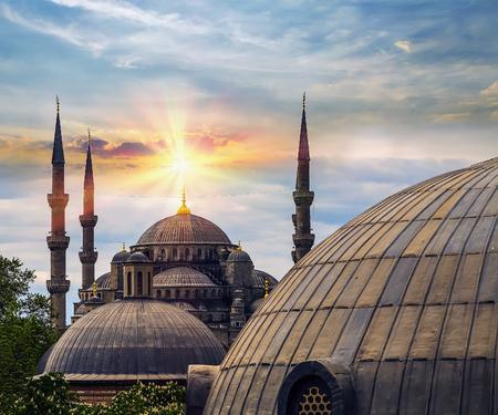 Spring sun Dome and minaret of Hagia Sophia, Aya Sofya museum in Istanbul Turkey