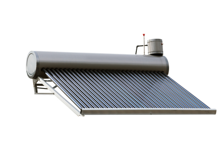 Aluminum Heat Pipe Thermosyphon Solar Water Heater Energy System isolated white background