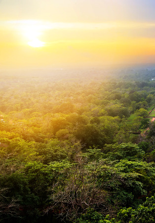 Spring scenes Sigiriya Rock or Sinhagiri aerial panoramic view, which dominates the jungle from all sides, Dambulla in Sri Lanka. Banco de Imagens