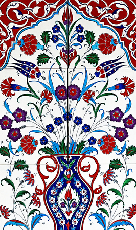Seamless patchwork tile flower ornamental vintage ottoman, ceramic tiles floral patterns from Turkey