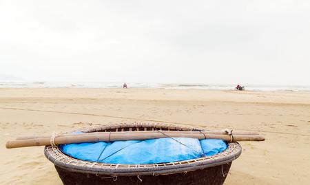 basket boats on the beach at Da Nang, Vietnam