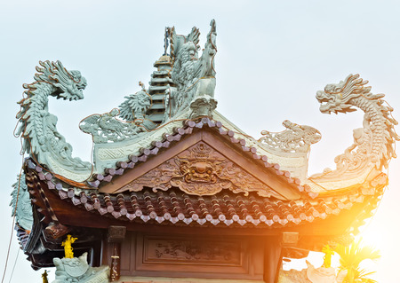 Chinese temples sun roof detail roof in dragon shape, Da Nang city, Vietnam, Asia
