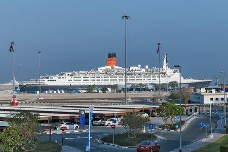 United Arab Emirates, Dubai, Jan 26, 2016: Dubai cruise port terminal, port rashid. Cruise ships docking.