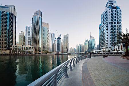DUBAI, UAE - January 25, 2016: Dubai skyscrapers, Modern buildings on Dubai Marina World Tallest Tower travel and tourism Dubai, United Arab Emirates Sajtókép