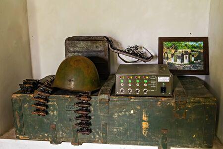 Cat Ba Island, Lan Ha Bay, Vietnam - November 30, 2014: Ammunition depot box Memorial room of historical events