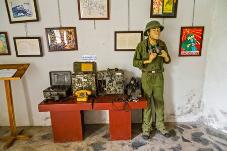Cat Ba Island, Lan Ha Bay, Vietnam - November 30, 2014: Soldier Memorial room of historical events. Canon Fort has the underground tunnel system linked together by stone trenches Editorial
