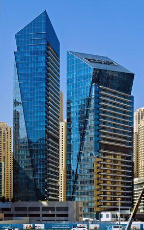 DUBAI, UAE - January 24, 2016: Panorama skyscrapers residential buildings luxury tower hotel, Dubai city, United Arab Emirates