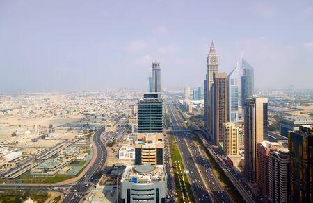 DUBAI, UAE - January 24, 2016: Panorama skyscrapers residential buildings luxury hotel Sheikh zayed roads, Dubai city, United Arab Emirates