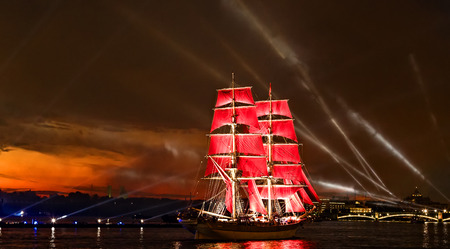 "White Nights Festival, The brig romantic ship ""Scarlet sails"" sailing on the Neva river in St. Petersburg"