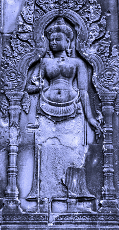 Apsaras decoration at the corner of Angkor wat, Seam Reap, Stone APSARA Sculpture Cambodia Editorial