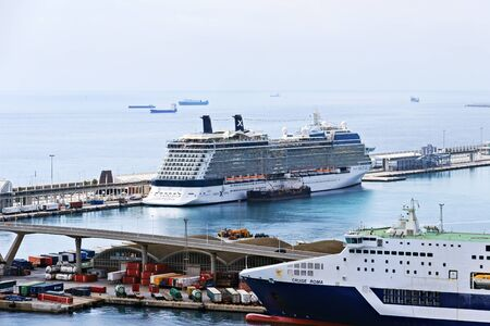 BARCELONA, SPAIN - August 27, 2012: Large Cruise Ships Celebrity Solstice ocean liner in Barcelona cruise port 8 cruise ship terminals, Catalunya, Spain, Europe.