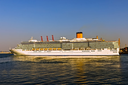 Summer vacation Cruise travel tourism concept. Ship cruise liner deck blue waves sea view romantic landscape.