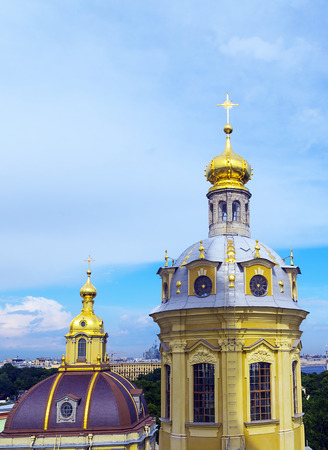 Cupolas of Cathedral stone church of st. apostles Peter and Paul. The Peter and Paul temple in Leningrad (SAINT PETERSBURG)architecture, St. Petersburg Petropavlovskoy fortresses, Russia.