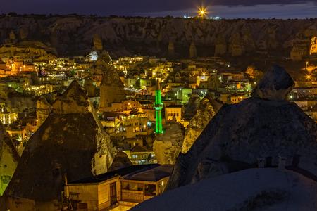 Eco house, hotel Goreme, panoramic Cappadocia. Spectacular nighttime tourist attraction of Cappadocia. Goreme rock cave town Cappadocia, Turkey, Anatolia