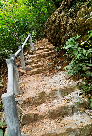 limestone stairs stairway, Catba national park attractions. Cat ba island in Halong bay, Vietnam