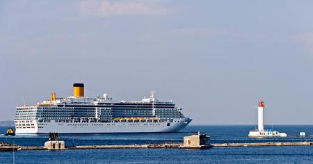 Passenger Cruise liner Harbor Odessa lighthouse navigational travel concept Cruising.