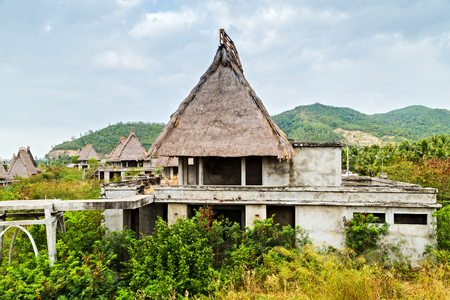 Bungalow Straw Roof Eco hotel resort tourism concept nature background wooden hut tropics in the local village. Reklamní fotografie