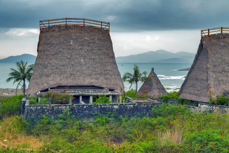 Eco hotel resort tourism concept nature background wooden hut.