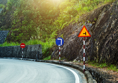 Beautiful country road, sign road mountains tumbling background