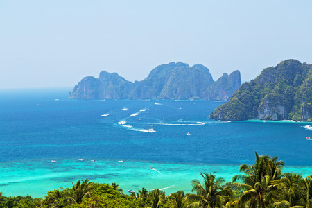 View Point Koh Phi Phi Don in andaman sea, Phuket, Krabi, South of Thailand. Tropical beach with coconut palm tree Stock Photo