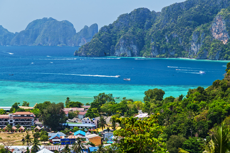 Tropical beach with palms. View Point Koh Phi Phi Don in andaman sea, Phuket, Krabi, South of Thailand. Stock Photo