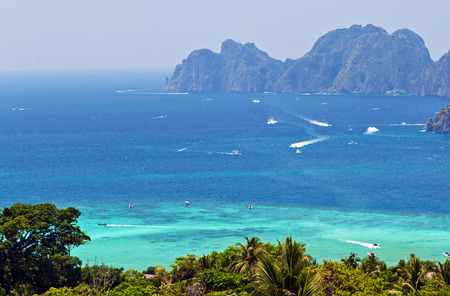 Tropical beach with coconut palm tree. View Point Koh Phi Phi Don in andaman sea, Phuket, Krabi, South of Thailand.