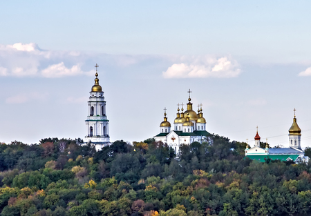Cupolas of Krestovozdvizhensky Monastery landscape, Poltava Cross Exaltation Women's Monastery Orthodox panoramic city view. Bell tower in the late Baroque style. Travel easter in Poltava land Ukraine.