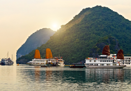 Cruse liner Vietnamese sailboat. Tourist boat high cliff most popular landscape for travel Vietnam. Halong Bay Tour Cruise Discover Rock islands spectacular limestone.