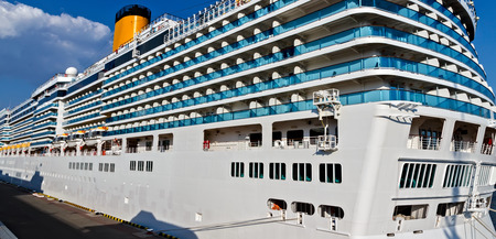 Stern cruise ship near the pier sea. Summer vacation Cruise travel tourism concept. open deck of luxury cruise ship