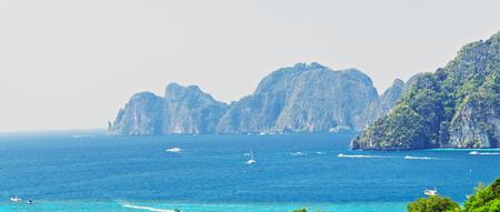 Beach and tropical sea. View Point Koh Phi Phi Don in andaman sea, Phuket, Krabi, South of Thailand.