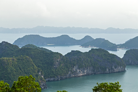 Panorama Halong bay islands mountains in South China Sea, Vietnam. Panorama Tourist attraction of Halong bay islands, spectacular limestone karsts, grottos natural cave formations.