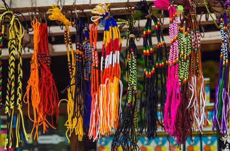 The Buddhist Flag Handcrafted Wax Cotton Cord Thread Thai WRISTBAND Bracelet