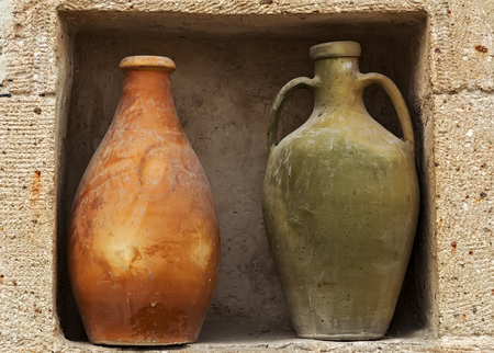 amphora vintage pot old ceramic jugs for water and oil made from dark clay