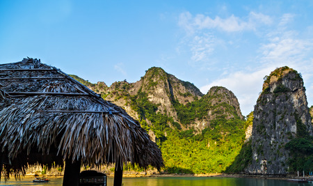 Halong bay islands Tour Cruise Discover mountains in South China Sea, Vietnam.