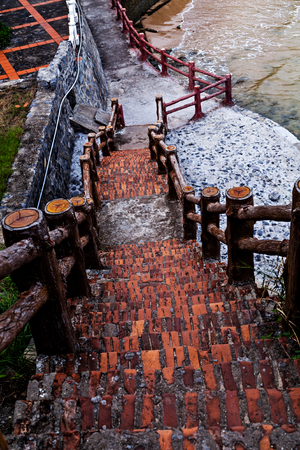 Cat ba rocky island stairs in modern villa beautiful beach and tropical sea Cat co, Vietnam 版權商用圖片