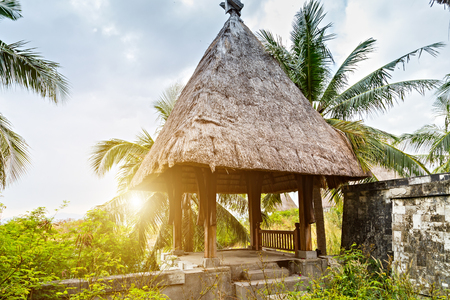 Straw Roof Eco hotel resort tourism concept nature background wooden hut tropics in the local village. Reklamní fotografie