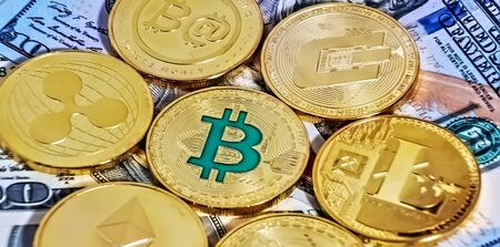 Gold Bitcoin Close up Collection blockchain of banknotes. Blockchain technology Virtual digital currency.